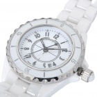 Elegant Ceramic Wrist Watch with Date Display - White (1 x SR616W)