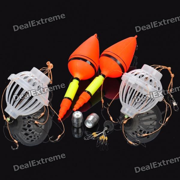 Dual Fishing Buoys + Bait Cages w/ 4 Hooks Set
