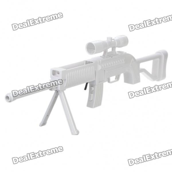 Sniper Rifle Gun for Wii Shooting Games - White (2 x AAA)