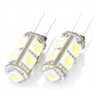 G4 1.8W 6000K 135-Lumen 9-5050 SMD LED White Light Car Lamps (DC 12V / Pair)