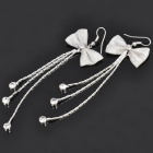 Exquisite Strass Tassel bowknot Ohrring Ohrring - Silber (Paar)