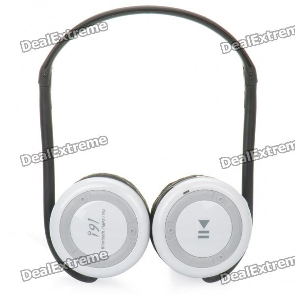 i91 Rechargeable Bluetooth V2.1=EDR MP3 Player Stereo Headset w/ FM / Microphone / TF - White ks 508 mp3 player stereo headset headphones w tf card slot fm black