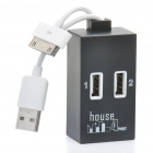 USB 2.0 4-Port Hub with Data/Charging Cable for iPhone/iPad - Black