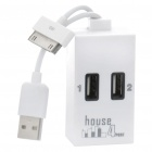 USB 2.0 4-Port Hub with Data/Charging Cable for iPhone/iPad - White