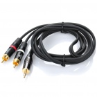 3.5mm Male to 2 RCA Male AV Adapter Cable - Black (150CM-Length)