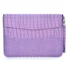 "Protective Crocodile Grain Pattern PU Leather Case Bag for MacBook Air 13.3"" Laptop - Purple"
