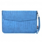 "Protective Crocodile Grain Pattern PU Leather Case Bag for MacBook Air 11.6"" Laptop Notebook - Blue"