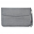 "Protective Crocodile Grain Pattern PU Leather Case Bag for MacBook Air 11.6"" Laptop Notebook - Grey"