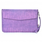 "Protective Crocodile Grain Pattern PU Leather Case Bag for MacBook Air 11.6"" Laptop - Purple"