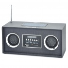 Solar Powered Rechargeable Wooden MP3 Music Speaker Player w/ 3-LED Flashlight / FM / SD - Dark Grey