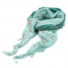 Fashion Embroidered Flower Pattern Cotton Triangle Tassel Scarf Shawl - Gradient Green