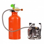 Portable Folding Windproof Gas / Oil Stove w/ Metal Pump - Silver + Orange