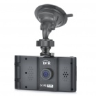 "HD 720P 2.7"" TFT Dual Camera 2.0MP CMOS Wide Angle Car DVR w/ 4-LED IR Night Vision / AV OUT / SD"