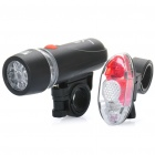 3-Mode 5-LED 20000mcd Weiß Head Light + 3-Modus 4-LED Red Rücklicht Set (4 x AAA / 2 x CR2032)