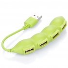 Cute String Bean Style USB 2.0 4-Port HUB - Green