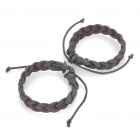Stylish Leather Bracelet Wristband - Coffee (2 Piece Pack)