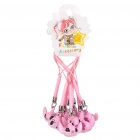 Cute Stitch Style Tinkle Bell Keychain - Pink (10-Pack)
