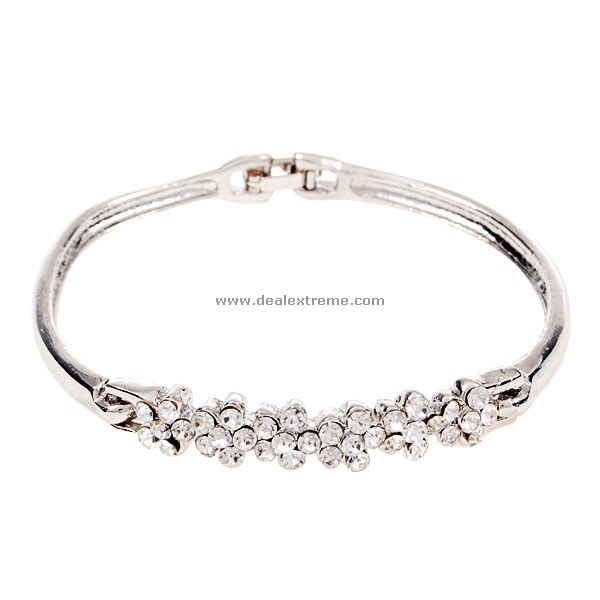 925 Silver Plated Bracelet Crystal Plum Blossoms