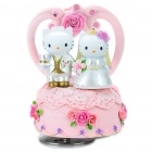 Rotating Resin Wedding Hello Kitty and Daniel Music Box - Pink