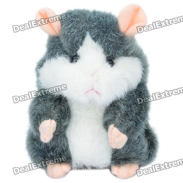 Cute Talking Mimicry Hamster Pet - Grey (3 x AAA) ysdx 811 video version mimicry pet talking hamster plush toy for kids grey light yellow pink
