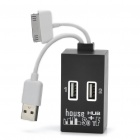 USB 2.0 Hub + Card Reader with Data/Charging Cable for iPhone/iPad - Black