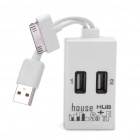 USB 2.0 Hub Card Reader with Data/Charging Cable for iPhone/iPad - White