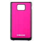 Protective Aluminum Alloy Half Wire Drawing Back Case Cover for Samsung i9100 - Deep Pink + Black