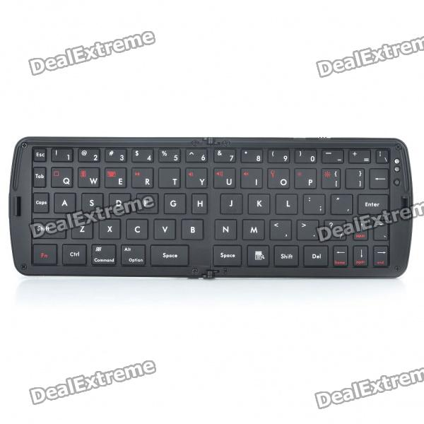 Portable Folding Bluetooth V3.0 66-Key Keyboard - Black compact 78 key slim portable bluetooth wireless qwerty keyboard for ipad iphone 2 x aaa