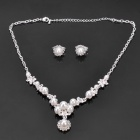 Exquisite Pearl Bead Necklace + Eardrop Set - White + Silver