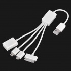 4-in-1 USB to Combo Cable (Mini 5pin + M2/micro SD card reader + iPhone 3G/4 + Micro USB)