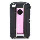 Sports Protective Soft Silicone Case with Carabiner Clip for iPhone 4/4S - Pink + Black