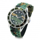 Camouflage Sports Acrylic Transparent Shell Quartz Wrist Watch - Camouflage Green