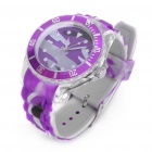Colorful Sports Acrylic Transparent Shell Quartz Wrist Watch - Purple