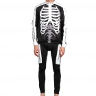 2011 Skeleton Winter-Long Sleeve Sport Cycling Suit Jersey + Pants Set - White + Black (Size-XXL)