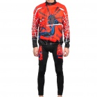 2011 Spider Man im Winter Long Sleeve Sport Cycling Suit Jersey + Pants Set - Red + Black (Größe-XXXL)