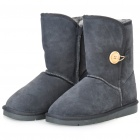 INCOME Women's Casual Cow Leather Winter Warm Snow Boots - Dark Grey (EUR Size-37)