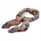 Fashion Skull Pattern Oblong Cotton Scarf Shawl - Grey