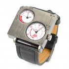 Cool Stainless Steel Dual Dial Plate Wrist Watch - Black