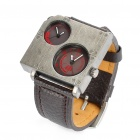 Cool Stainless Steel Dual Dial Plate Wrist Watch - Brown