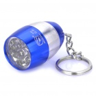 Camping Mini Ultra Bright 8-LED 20-LM White Light Flashlight w/ Keychain - Blue + Silver (2xCR2032)