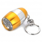 Camping Mini Ultra Bright 8-LED 20-LM White Light Flashlight w/ Keychain - Gold + Silver (2xCR2032)