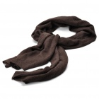 Fashion Knitted Hollow Flower Pattern Oblong Woolen Yarn Scarf Shawl - Dark Coffee