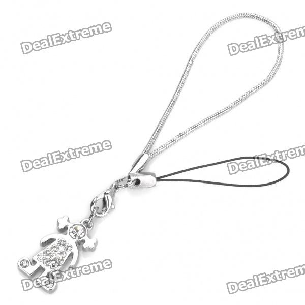 Cute Little Girl Style CrystalMetal Cell Phone Strap - Silver