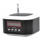 "Mini Rechargeable 1.3"" LCD MP3 Music Speaker Player with FM/USB/TF Slot - Black + White"