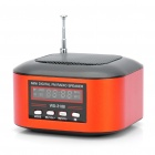 "Mini Rechargeable 1.3"" LCD MP3 Music Speaker Player with FM/USB/TF Slot - Black + Red"