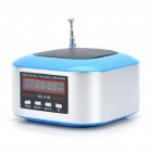 "Mini Rechargeable 1.3"" LCD MP3 Music Speaker Player with FM/USB/TF Slot - Blue + Silver"