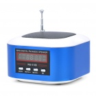 "Mini Rechargeable 1.3"" LCD MP3 Music Speaker Player with FM/USB/TF Slot - Blue + White"