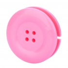 Cute Button Style Plastic Earphone Cable Winder Organizer with Clip - Pink