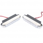 0.6W 8-LED White Light Daytime Running Lamps - Silver + Black (DC 12V / Pair)