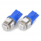 1W 5-LED 288LM 450nm Blue Light Bulbs for Car (2-Piece Pack)